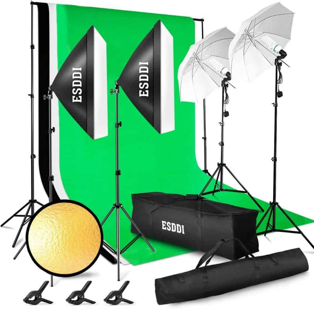 ESDDI - Kit de iluminación Profesional con Softbox y Paraguas - 4x85W