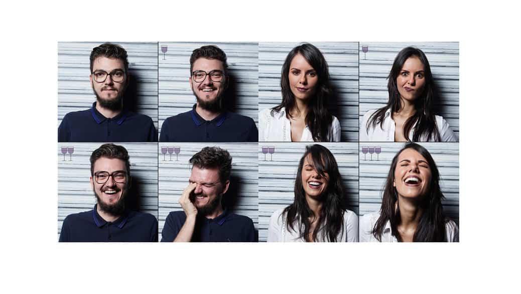 Retratos de gente despues de tomar 1,2 y 3 copas de vino