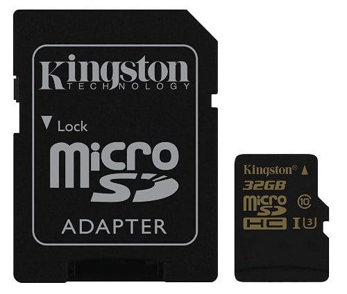 Kingston SDCG/32GB Gold Tarjeta de memoria microSD de 32 GB con UHS-I Speed Class 3 (U3) y adaptador SD