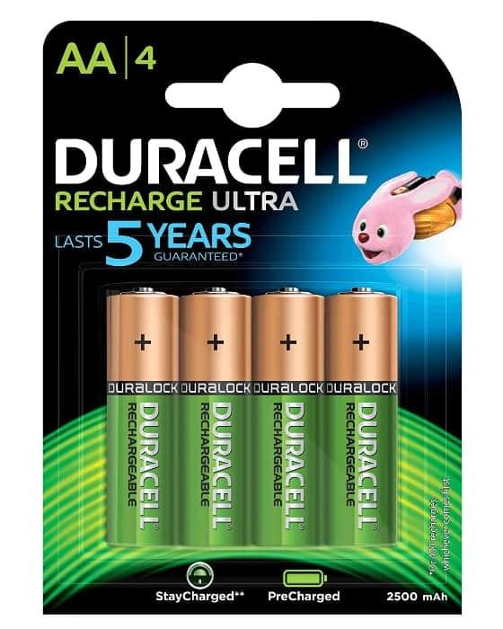 Duracell HR06-P - Pack de 4 pilas recargables AA con tecnología NiMH de 2500mAh