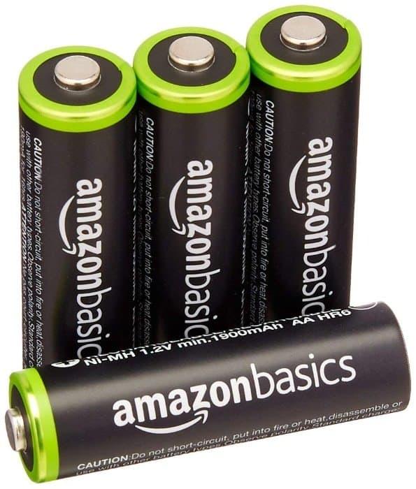 AmazonBasics - Juego de 4 pilas recargables AA Ni-MH (precargadas, 1000 ciclos, 2000 mAh/mínimo 1900 mAh)